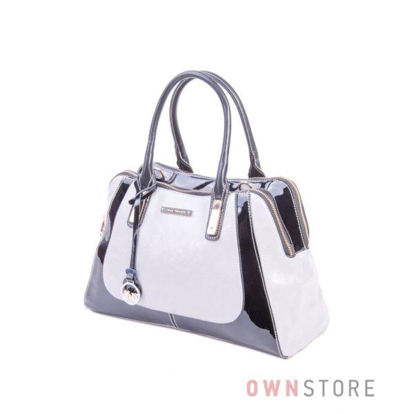 Купить женскую сумку двухцветную серо-черную Velina Fabbiano - арт.32229-2