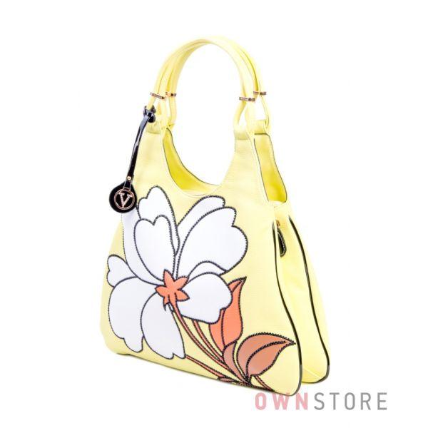 Купить сумку женскую желтую Velina Fabbiano с цветком - арт. 32333-1