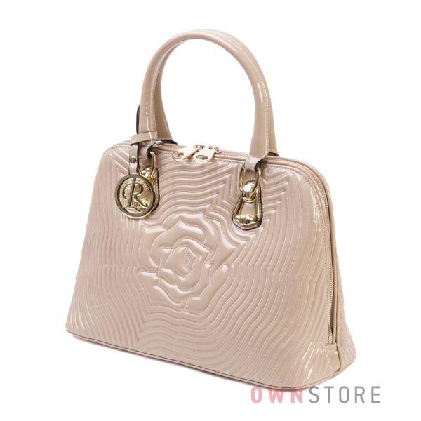Купить сумку в руку женскую лаковую бежевую с прострочкой Farfalla Rosso - арт.510785
