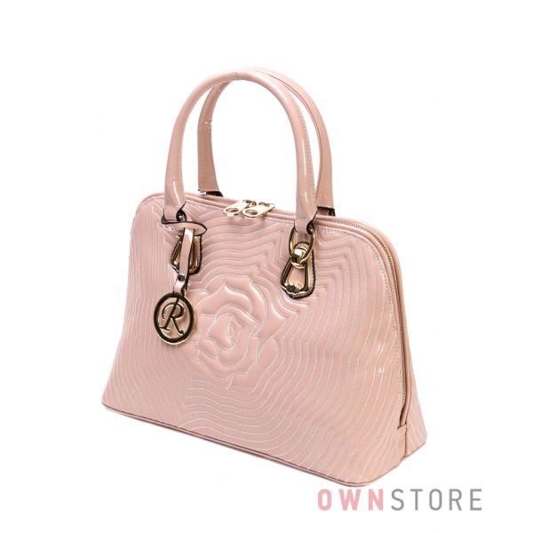 Купить сумку в руку женскую лаковую кремовую с прострочкой Farfalla Rosso - арт.510785