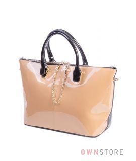 Купить сумку женскую двухцветную Shengkasilu кожаную - арт.5592