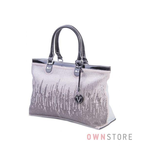 Купить женскую сумку Велина Фабиано из кожзаменителя и замши с камнями серую - арт.57592-4