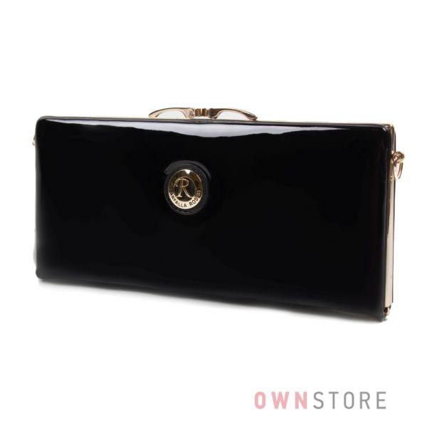 Купить женский черный лаковый клатч Farfalla Rosso - арт.61407