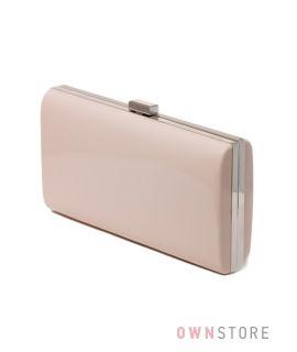Купить клатч женский классический лаковый цвета пудры на цепочке - арт.8010