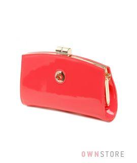 Купить клатч Farfalla Rosso женский лаковый коралловый  на цепочке - арт.62324