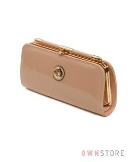 Купить клатч женский бежевый  лаковый на цепочке Фарфалла Россо  - арт.90157