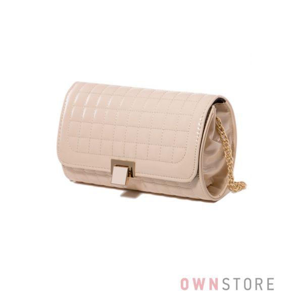 Купить сумку - клатч женскую лаковую с клапаном бежевую -арт.3382)