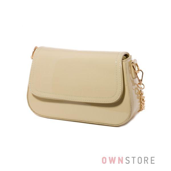 Купить женскую сумочку из бежевого лака - арт.68260