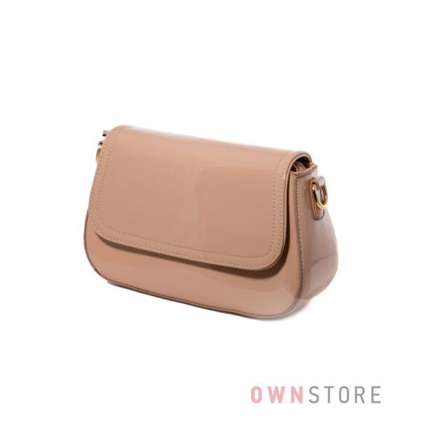 Купить женскую сумочку из лака цвета кофе с молоком - арт.68260