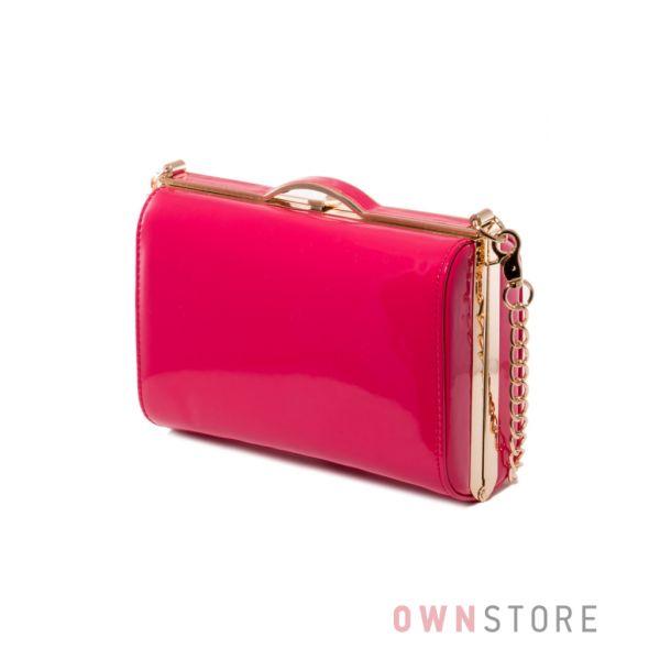 Купить сумку - клатч женскую лаковую малиновую - арт.8653