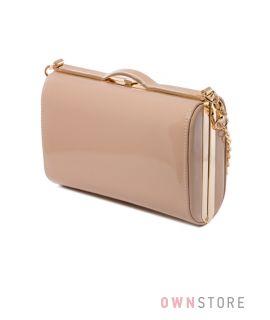 Купить сумку - клатч женскую лаковую бежевую - арт.8653