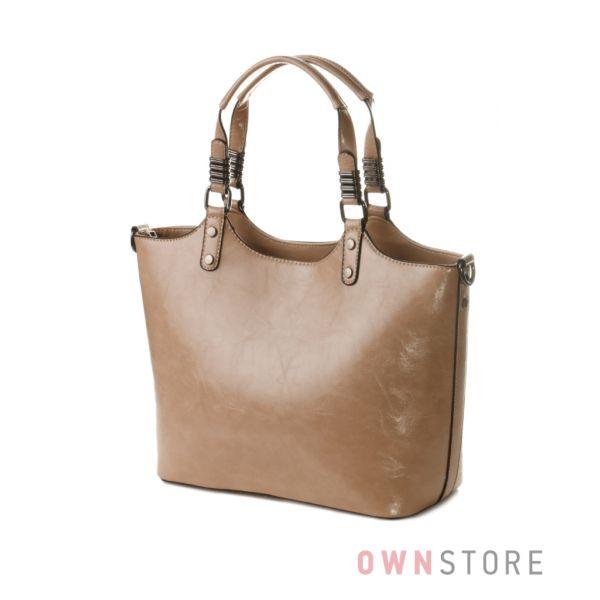 Купить большую классическую бежевую женскую сумку из кожзама - арт.035