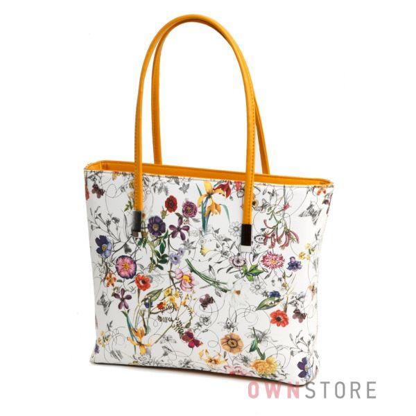 Купить сумку женскую  белую с разноцветными цветами из кожзама - арт.1036-2