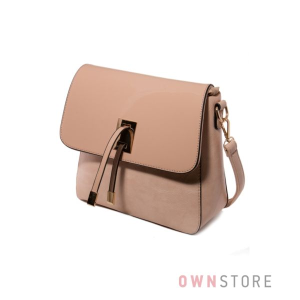 Купить женскую сумку - почтальон бежевую с лаковым перекидом - арт.12129