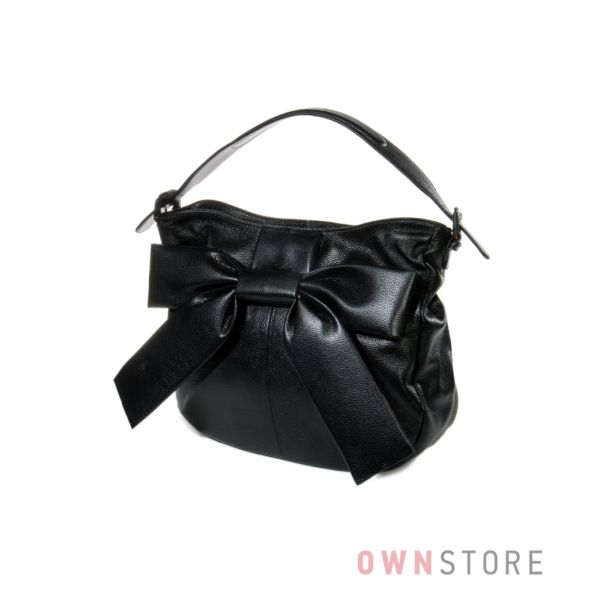 Купить кожаную женскую сумку черную с бантом