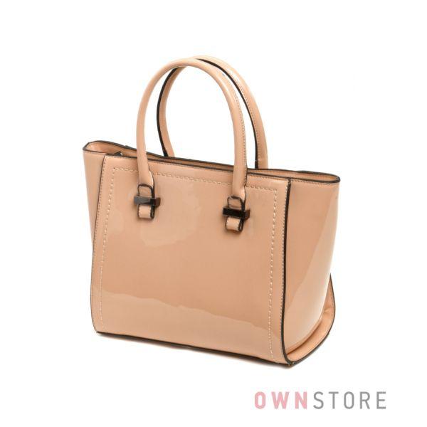 Купить сумку женскую из бежевого лака со строчкой - арт.61305