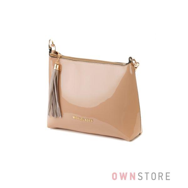 Купить бежевую лаковую женскую сумку хобо - арт.62192