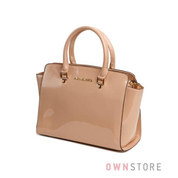 Купить сумку женскую бежевую лаковую классическую - арт.6607