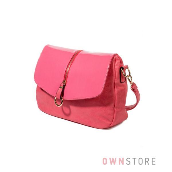 Купить сумку женскую коралловую с большим лаковым клапаном - арт. 7048