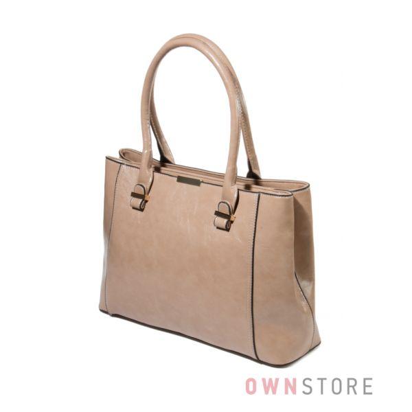 Купить сумку женскую бежевую на два отделения - арт.76023