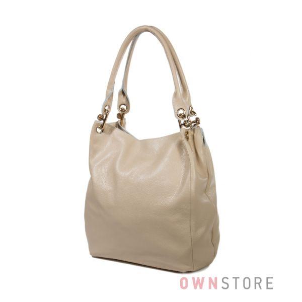 Купить сумку - мешок женскую кожаную с золотой фурнитурой - арт.791300