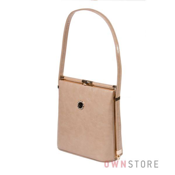 Купить женскую сумку в форме трапеции из кожзаменителя темно-бежевую -арт. 8639