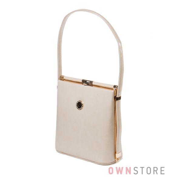 Купить женскую сумку в форме трапеции из кожзама светло-бежевую -арт.8639