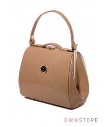 Маленькая лаковая сумочка поцелуй темно-бежевая(арт.8651)