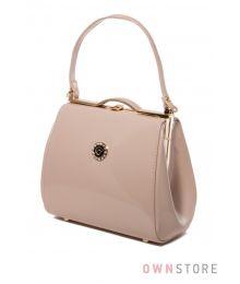 Маленькая лаковая сумочка поцелуй светло-бежевая(арт.8651)