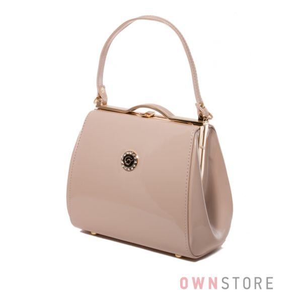 Купить женскую сумочку - поцелуй из светло-бежевого лака - арт.8651