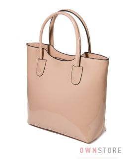 Купить сумку женскую классическая из бежевого лака - арт.8865