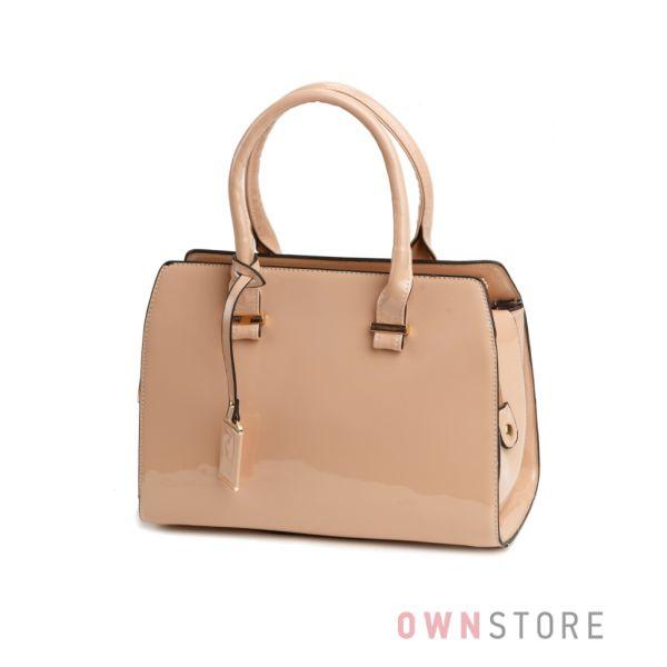 Купить сумку женскую бежевую лаковую в руку - арт.8880
