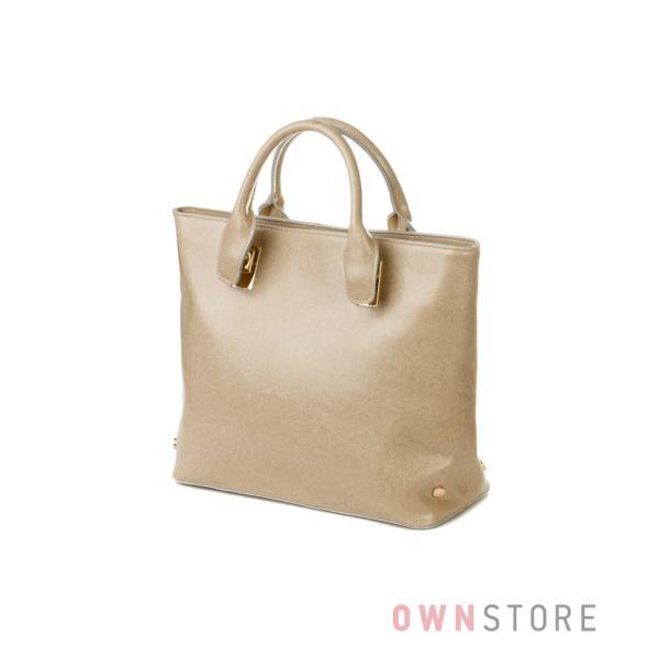 Купить кожаную песочную женскую сумку с заклепками Меглио - арт.8980