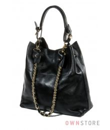 Кожаная черная сумка с цепочкой(арт.93251А)