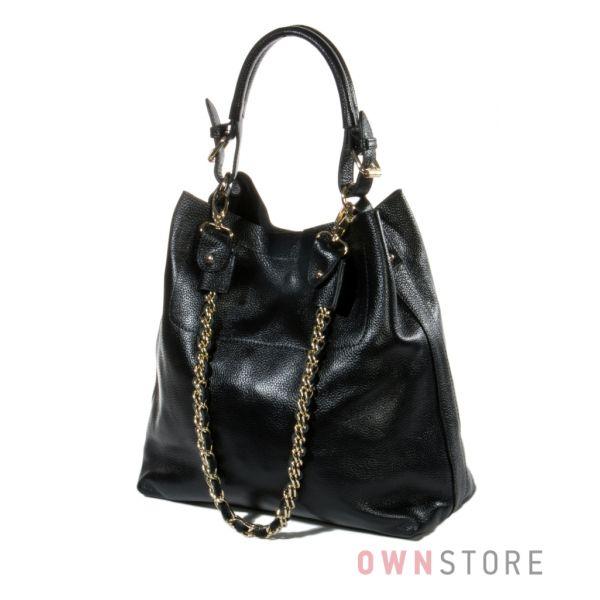 Купить женскую кожаную сумку из черной кожи с цепочкой