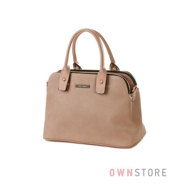 Купить сумку женскую Velina Fabbiano из кожзама на три отделения бежевая - арт.57862-1