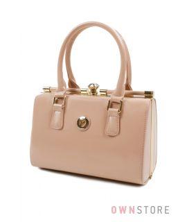 Купить женскую лаковую сумку поцелуй Farfalla Rosso бежевую - арт.61450
