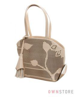 Купить сумку женскую бежевую с растительным узором от Farfalla Rosso - арт.90504