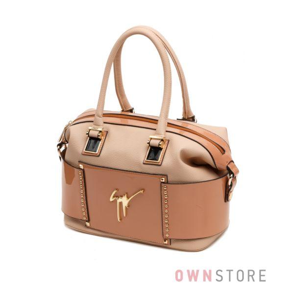 Купить сумку женскую Farfalla Rosso кремовую с заклепками - арт.91256-1