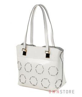 Купить белую кожаную женскую сумку с перфорацией Farfalla Rosso - арт.91413-1