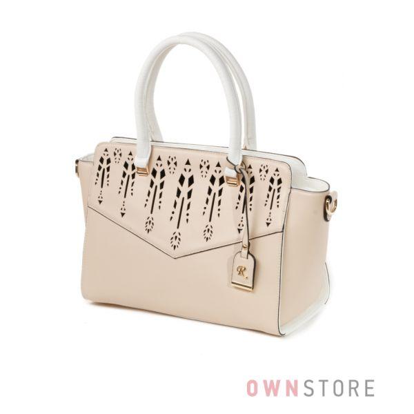 Купить бежевую женскую сумку Фарфалла Россо с цветочным орнаментом - арт.91474