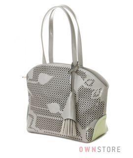 Купить сумку женскую серую с растительным узором от Farfalla Rosso - арт.91504