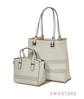 Купить комплект из двух женских сумок белый - арт.1968