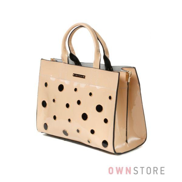 Купить бежевую женскую сумка  из лакированной натуральной кожи Velina Fabbiano - арт.33516-3