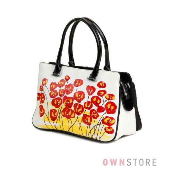 """Купить сумку кожаную женскую белую """"Цветочное поле"""" от Велина Фабиано  - арт.33525-2"""