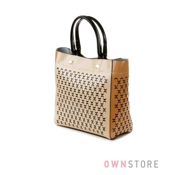 Купить сумку женскую лаковую с перфорацией Velina Fabbiano - арт.35560-1