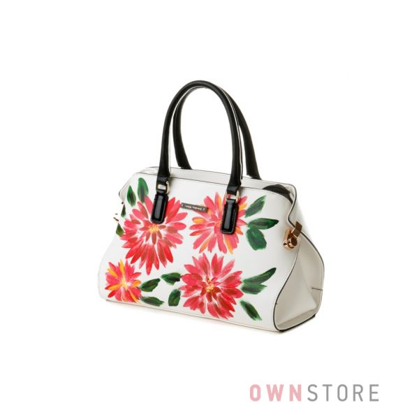 Купить сумку женскую белую с астрами Velina Fabbiano - арт.53859