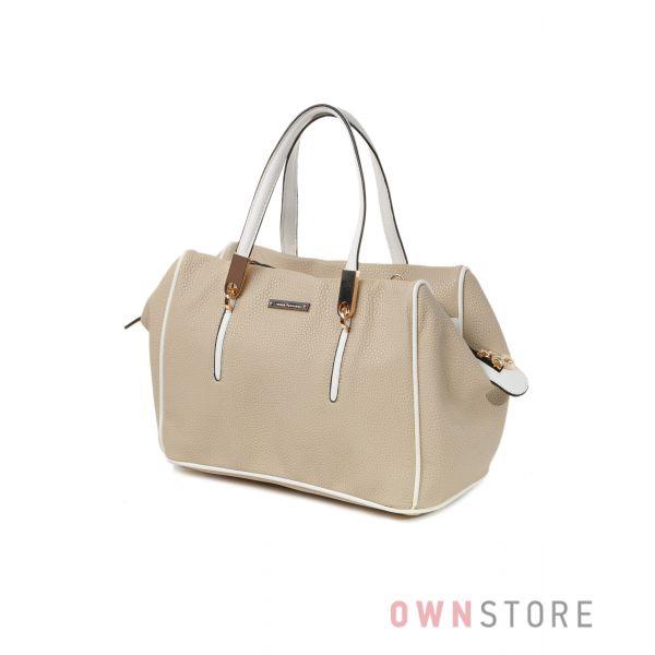 Купить небольшую бежевую женскую сумку с короткими ручками от Велина Фабиано  - арт.57916-4