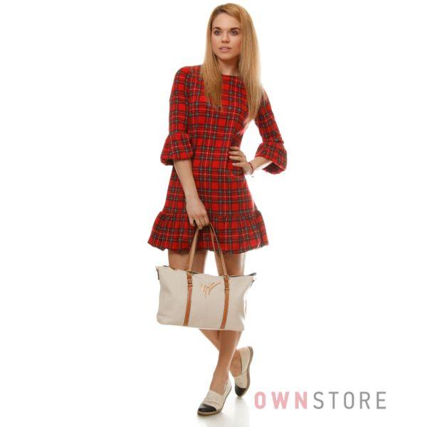 Купить сумку женскую Велина Фабиано бежевую с рыжими лямками - арт.59701-4