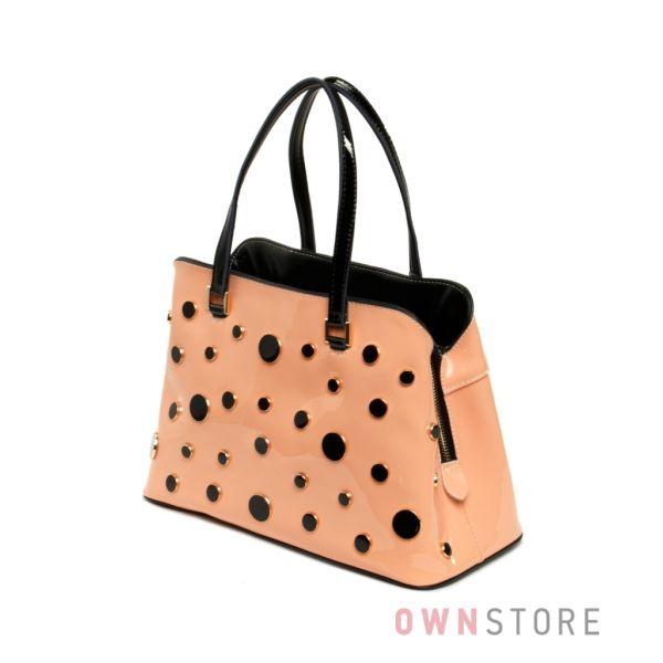 Купить персиковую женскую сумку из лакированной кожи Velina Fabbiano - арт.59801